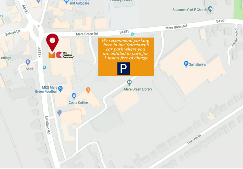 Where to Park in Suton Coldfield for the Massage Company